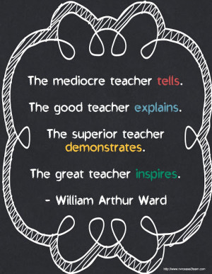 The great teacher inspires - William Arthur Ward