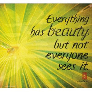 Everything has beauty but not everyone sees it environment quote