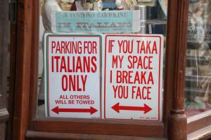 Funny italian parking sign