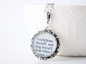 On Sale - Walt Whitman Quote Necklace - Inspirational Quote - Literary ...