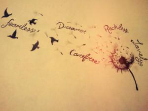 birds, dandelion, drawing, dream, dreamer, fearless, fly away