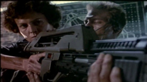 ... Ellen Ripley) and Michael Biehn (Cpl. Dwayne Hicks) in Aliens (1986