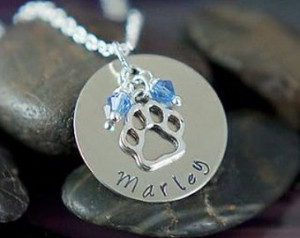 sale pet memorial necklace hand stamped jewelry paw print dog name pet ...