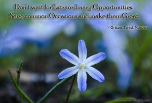 Don't wait for extraordinary opportunities. Seize common occasions ...