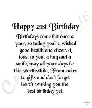 Happy 21st Birthday Wishes Quotes