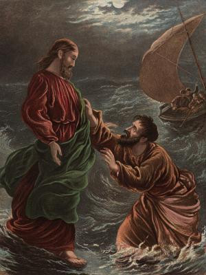 Jesus invites Peter to get out of his boat and walk on water. Getty ...