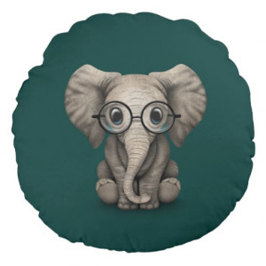 Cute Baby Elephant with Reading Glasses Teal Blue Round Pillow