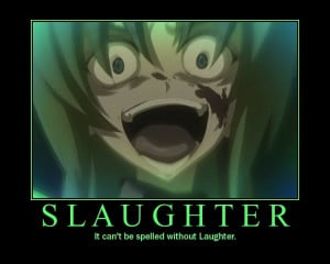 Well the most evil laugh i have found on anime were Shions eyes and ...