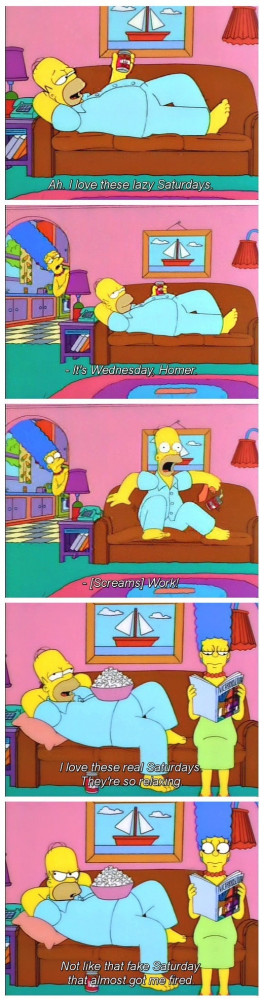 Homer Simpson lazy Saturday fake Wednesday meme