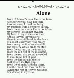 Dark Ride. Alone by Edgar Allan Poe. More