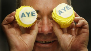Alex Salmond gets cupcakes on his side during a recent campaign stop ...