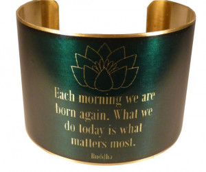Buddha Quote with Lotus Brass Quote Cuff Buddhism by accessoreads, $38 ...