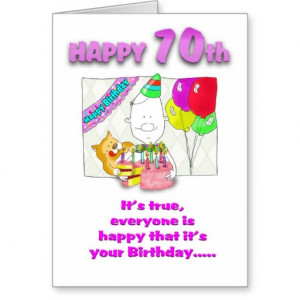 Funny Birthday card with cake_70th