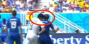 Luis Suarez Bites An Italy Player In The Middle Of A World Cup Game