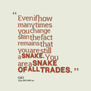 ... you change skin the fact remains that you are still a snake you are a