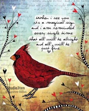 Sign / cardinal / original illustration ART Print Hand SIGNED size 8 x ...