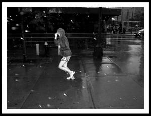 Running In The Rain Woman running in rain ·