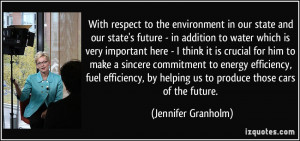 With respect to the environment in our state and our state's future ...