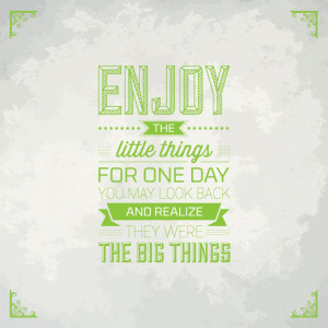 Enjoy The Little Things. For One Day You May Look Back And Realize ...