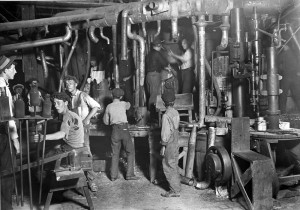 Part of a night shift in an Indiana glass factory, August 1908. Lewis ...