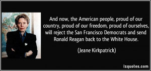 And now, the American people, proud of our country, proud of our ...