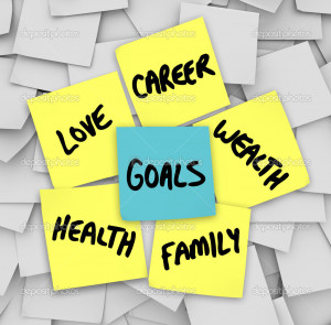 File Name : Goals on Sticky Notes Health Wealth Career Love Family