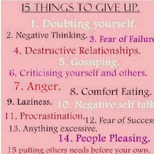 Things to give up in order to move on.