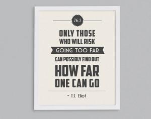 ... Retro 26.2 T.S. Eliot Print - Typographic Inspirational Running Quote
