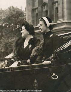 ... Queen Mother and Princess Margaret attend Trooping the Colour in 1952