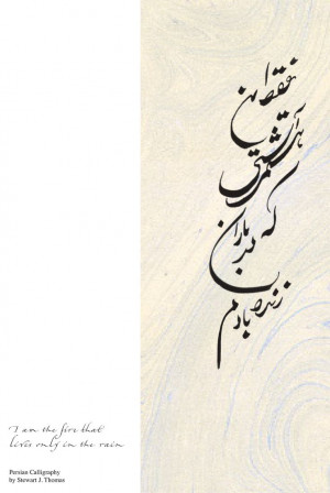 """Persian (Farsi) translation of """"I am the fire that lives only in the ..."""