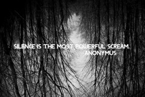 black, black and white, photography, quote, silence