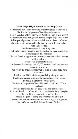 High School Wrestling Quotes And Sayings Cambridge high school ...