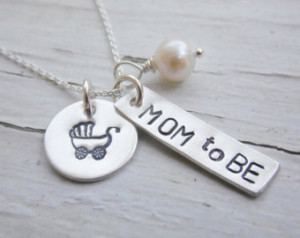 Hand Stamped Necklace Sterling Silv er for Expectant Mother ...