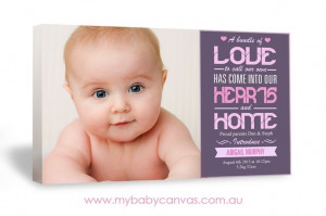 Abigail | Birth Details Canvas Design | My Baby Canvas | Rectangle