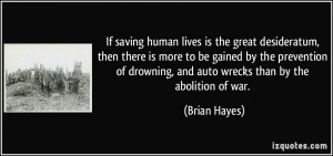 If saving human lives is the great desideratum, then there is more to ...