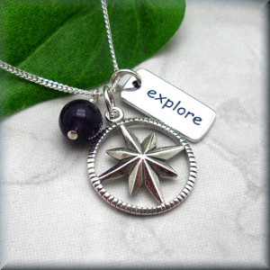 Compass Necklace Inspirational Quote Explore Amethyst Jewelry Sterling ...
