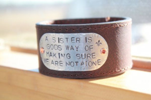 Sister's Quote Black Leather Cuff High Quality by SerenadeJewelry, $25 ...