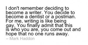 Mark Haddon writing quote