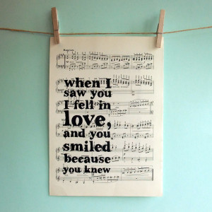 ... Inspirational Quote Typographic Art Print on Vintage Sheet Music