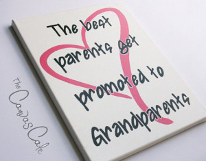... on Canvas, Parents & Grandparents Quote with Pink Heart, New Baby Gift