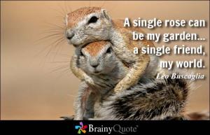 ... rose can be my garden... a single friend, my world. - Leo Buscaglia