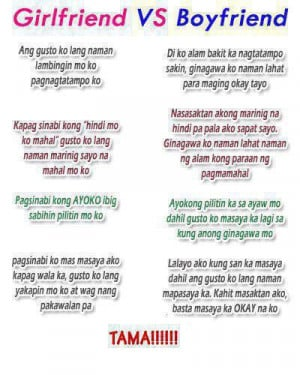 Tagalog Girlfriend vs Boyfriend Quotes Image