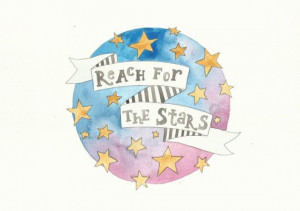 Reach For The Stars Quote Blue Pink Stars by FeatherAndSixpence, £22 ...