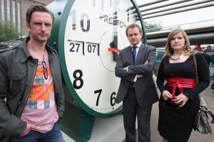 Nicholas Gleaves, Hugh Bonneville and Jessica Hynes in