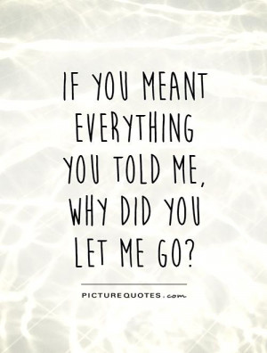 you meant everything you told me, why did you let me go? Picture Quote ...