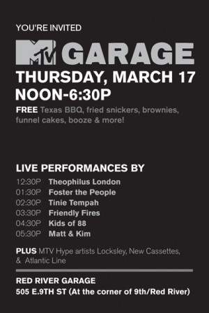 SXSW Unofficial Updates: MTV Garage with Matt and Kim (+more)