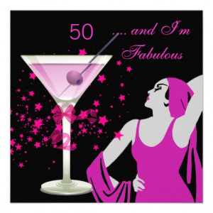 Fabulous 50 50th Birthday Party Diva Pink Black Invite