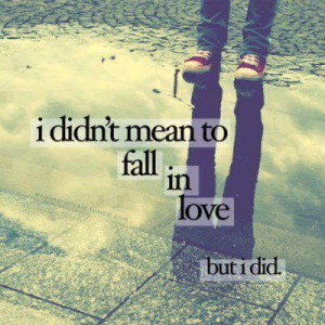didnt mean to fall in love Fall in love Quotes