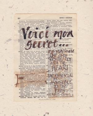 Voici mon secret, Petit Prince quote, The Little Prince, old book page ...