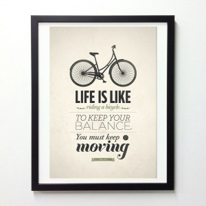 Life Quote typography poster - Life is like riding a bicycle - Retro ...